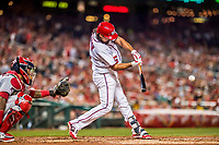 15 August 2017: Washington Nationals third baseman Anthony Rendon singles to lead off the bottom of the 6th inning against the Los Angeles Angels at Nationals Park in Washington, DC. The Nationals defeated the Angels 3-1 in the first game of their 2-game series. Mandatory Credit: Ed Wolfstein Photo *** RAW (NEF) Image File Available ***