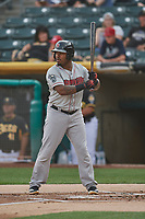 BJ Boyd (9) of the Nashville Sounds bats against the Salt Lake Bees at Smith's Ballpark on July 28, 2018 in Salt Lake City, Utah. The Bees defeated the Sounds 11-6. (Stephen Smith/Four Seam Images)