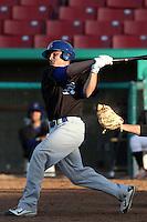 Max Stassi #10 of the Stockton Ports bats against the High Desert Mavericks at Stater Bros. Stadium on May 27, 2012 in Adelanto,California. High Desert defeated Stockton 6-5.(Larry Goren/Four Seam Images)