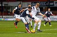 29th December 2020; Dens Park, Dundee, Scotland; Scottish Championship Football, Dundee FC versus Alloa Athletic; Declan McDaid of Dundee challenges for the ball with Nicky Jamieson of Alloa Athletic