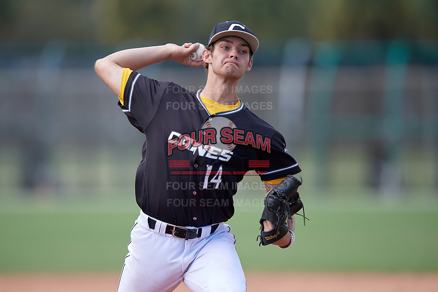 Zachary Bennett (14) during the WWBA World Championship at the Roger Dean Complex on October 13, 2019 in Jupiter, Florida.  Zachary Bennett attends  High School in  and is committed to .  (Mike Janes/Four Seam Images)