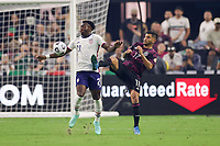 LAS VEGAS, NV - AUGUST 1: George Bello #21 of the United States battles for the ball with Jesus Corona #17 of Mexico during a game between Mexico and USMNT at Allegiant Stadium on August 1, 2021 in Las Vegas, Nevada.