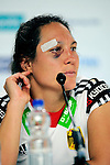 The Hague, Netherlands, June 13: Maike Stoeckel #24 of Germany during press conference after the field hockey placement match (Women - Place 7th/8th) between Korea and Germany on June 13, 2014 during the World Cup 2014 at Kyocera Stadium in The Hague, Netherlands. Final score 4-2 (2-0)  (Photo by Dirk Markgraf / www.265-images.com) *** Local caption ***