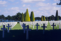 The graveyard in the American military cemetery of W.W.II dead in Colleville - St. Laurent, Normandy, France