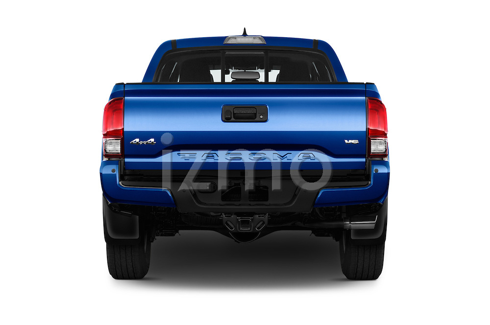 Straight rear view of 2016 Toyota Tacoma TRD Sport 4 Door Pickup Rear View  stock images