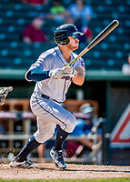 18 July 2018: New Hampshire Fisher Cats outfielder Connor Panas singles on a line drive to center in the 2nd inning against the Trenton Thunder at Northeast Delta Dental Stadium in Manchester, NH. The Fisher Cats defeated the Thunder 3-2 in a 7-inning, second game of the day. Mandatory Credit: Ed Wolfstein Photo *** RAW (NEF) Image File Available ***