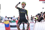 Adam Yates (GBR) Mitchelton-Scott wins solo Stage 3 The Emirates Stage of the UAE Tour 2020 running 184km from Al Qudra Cycle Track to Jebel Hafeet, Dubai. 25th February 2020.<br /> Picture: LaPresse/Fabio Ferrari | Cyclefile<br /> <br /> All photos usage must carry mandatory copyright credit (© Cyclefile | LaPresse/Fabio Ferrari)