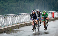 Dries Devenyns (BEL/Deceuninck - Quick Step) & Tim Declercq (BEL/Deceuninck-Quick Step) escorting Green Jersey / points leader Mark Cavendish (GBR/Deceuninck-Quick Step) in this hard mountain stage over the Barrage de Roselend in, yet again, grim conditions.<br /> <br /> Stage 9 from Cluses to Tignes (145km)<br /> 108th Tour de France 2021 (2.UWT)<br /> <br /> ©kramon