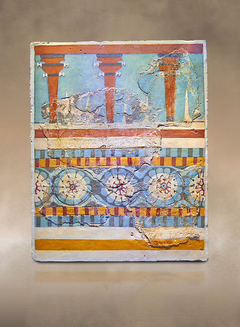 """The Minoan """"Three columned Shrine"""" minture fresco Knossos-Palace, 1700-1450 BC . Heraklion Archaeological Museum.<br /> <br /> The freco depicts a portico with columns on which double axes are fixed, separated by horns of consecration, on a balustrade decorated with rosettes"""