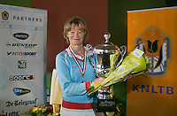 August 24, 2014, Netherlands, Amstelveen, De Kegel, National Veterans Championships, Prizegiving, Final 60 years+: winner Nora Blom (NED) <br /> Photo: Tennisimages/Henk Koster