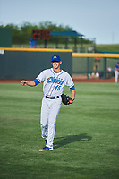 Omaha Storm Chasers starting pitcher Heath Fillmyer (45) throws before the game against the Round Rock Express at Werner Park on May 27, 2018 in Papillion , Nebraska. Round Rock defeated Omaha 8-3. (Stephen Smith/Four Seam Images)