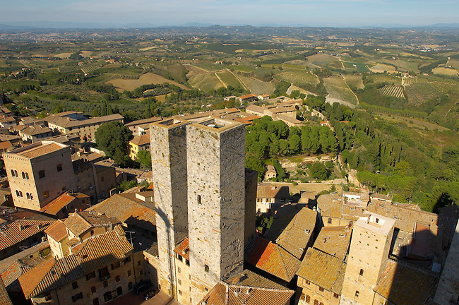 Arial View of San Gimignano - Tuscany - Chainti Italy