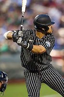 Vanderbilt Commodores first baseman Zander Wiel (43) at bat during the NCAA College baseball World Series against the Cal State Fullerton Titans on June 14, 2015 at TD Ameritrade Park in Omaha, Nebraska. The Titans were leading 3-0 in the bottom of the sixth inning when the game was suspended by rain. (Andrew Woolley/Four Seam Images)