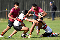 Francis Manuleleua of Kings College is tackled during the College 1st XV Rugby - Scots College v Kings College at Scots College, Wellington, New Zealand on Saturday 8 May 2021.<br /> Copyright photo: Masanori Udagawa /  www.photosport.nz