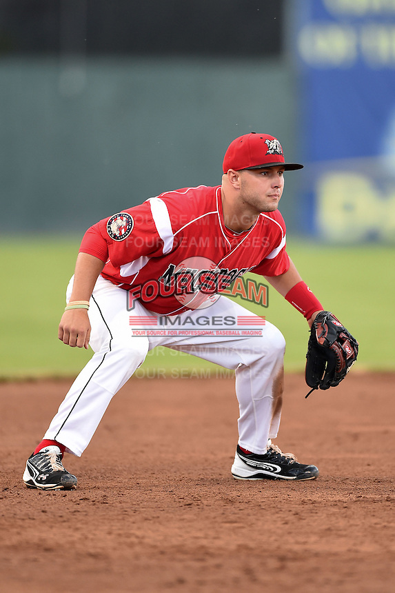 Batavia Muckdogs third baseman Ryan Cranmer (25) during a game against the State College Spikes on July 3, 2014 at Dwyer Stadium in Batavia, New York.  State College defeated Batavia 7-1.  (Mike Janes/Four Seam Images)