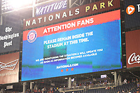 WASHINGTON, DC - JULY 17 : View of the scoreboard as two were shot outside Nationals Park during Nationals game against the San Diego Padres in Washington, D.C. on July 17, 2021. <br /> CAP/MP34<br /> ©MPI34/Capital Pictures
