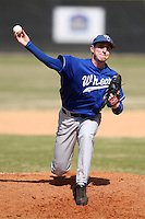 March 15, 2010:  Pitcher Nick Kostaras of the Wheaton College Lyons in a game vs SUNY Cortland at Lake Myrtle Park in Auburndale, FL.  Photo By Mike Janes/Four Seam Images