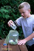 HE09-005z  Milkweed bug - boy collecting milkweed bugs -  Lygaeus kalmii