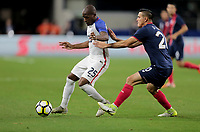 Arlington, TX - Saturday July 22, 2017: Darlington Nagbe and Marco Ureña during a 2017 Gold Cup Semifinal match between the men's national teams of the United States (USA) and Costa Rica (CRC) at AT&T stadium.