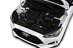 Car stock 2020 Hyundai Veloster Turbo Ultimate 5 Door Hatchback engine high angle detail view
