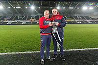 Pictured L-R: Coaches Anthony Wright and Jon Grey. Tuesday 01 May 2018<br /> Re: Swansea U19 v Cardiff U19 FAW Youth Cup Final at the Liberty Stadium, Swansea, Wales, UK