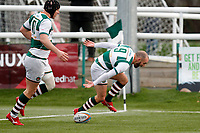 TRY - Jordan Burns of Ealing Trailfinders grounds the ball during the Championship Cup Quarter Final match between Ealing Trailfinders and Nottingham Rugby at Castle Bar , West Ealing , England  on 2 February 2019. Photo by Carlton Myrie / PRiME Media Images.