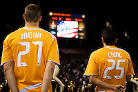 Houston Dynamo players Nate Jaqua and Brian Ching. The Houston Dynamo and Chivas USA played to a 1-1 tie at Home Depot Center stadium in Carson, California on Saturday October 25, 2008. Photo by Michael Janosz/isiphotos.com