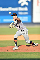 Bowling Green Hot Rods starting pitcher Jose LaSorsa (29) delivers a pitch during a game against the Asheville Tourists on May 26, 2021 at McCormick Field in Asheville, NC. (Tony Farlow/Four Seam Images)