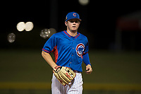 AZL Cubs 2 center fielder Cole Roederer (34) jogs off the field between innings of an Arizona League game against the AZL Rangers at Sloan Park on July 7, 2018 in Mesa, Arizona. AZL Rangers defeated AZL Cubs 2 11-2. (Zachary Lucy/Four Seam Images)