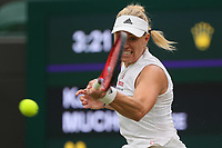 6th July 2021, Wimbledon, SW London, England; 2021 Wimbledon Championships, day 8;  Angelique Kerber of Germany hits a return during the womens quarterfinal match between Karolina Muchova of the Czech Republic and Angelique Kerber of Germany at Wimbledon tennis Championship in London, Britain, on July 6, 2021. Photo by /Xinhua SPBRITAIN-LONDON-TENNIS-WIMBLEDON TimxIreland