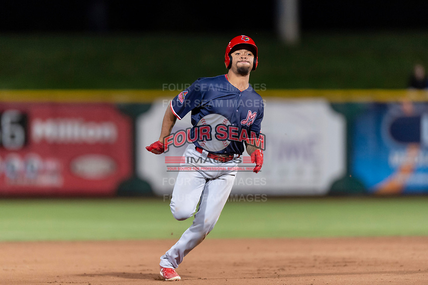 Memphis Redbirds shortstop Edmundo Sosa (12) hustles towards third base during a Pacific Coast League game against the Omaha Storm Chasers on April 26, 2019 at Werner Park in Omaha, Nebraska. Memphis defeated Omaha 7-3. (Zachary Lucy/Four Seam Images)