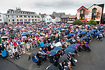 A view of the crowd during a short rainshower at the official opening of the All-Ireland Fleadh 2017 in Ennis. Photograph by John Kelly.