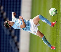 Chicago Red Star midfielder Megan Rapinoe (9) prepares to shoot the ball.  The Sky Blue FC defeated the Chicago Red Stars 2-0 at Toyota Park in Bridgeview, IL on May 10, 2009.