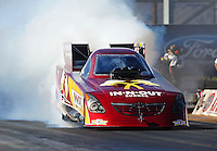 Oct. 14, 2011; Chandler, AZ, USA; NHRA funny car driver Melanie Troxel during qualifying at the Arizona Nationals at Firebird International Raceway. Mandatory Credit: Mark J. Rebilas-