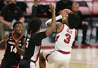 Arkansas guard Desi Sills (3) drives the ball for a layup, Saturday, January 9, 2021 during the first half of a basketball game at Bud Walton Arena in Fayetteville. Check out nwaonline.com/210110Daily/ for today's photo gallery. <br /> (NWA Democrat-Gazette/Charlie Kaijo)