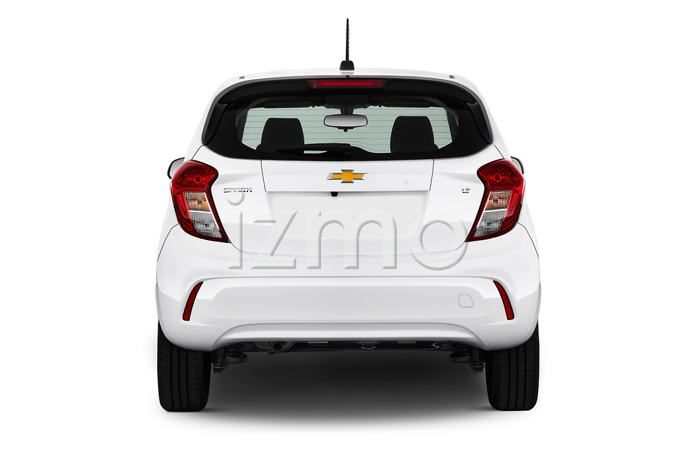 Straight rear view of 2017 Chevrolet Spark 1LT 5 Door Hatchback Rear View  stock images