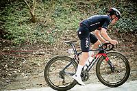 eventual winner Tom Pidcock (GBR/Ineos Grenadiers) up the brutal Moskesstraat<br /> <br /> 61st Brabantse Pijl 2021 (1.Pro)<br /> 1 day race from Leuven to Overijse (BEL/202km)<br /> <br /> ©kramon