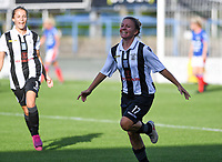20190810 - DENDERLEEUW, BELGIUM : PAOK's Maria Mitkou pictured celebating her goal and the 2-2 equalizer during the female soccer game between the Greek PAOK Thessaloniki Ladies FC and the Northern Irish Linfield ladies FC , the second game for both teams in the Uefa Womens Champions League Qualifying round in group 8 , Wednesday 7 th August 2019 at the Van Roy Stadium in Denderleeuw  , Belgium  .  PHOTO SPORTPIX.BE | DAVID CATRY