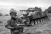 - Esercitazioni NATO in Germania, Settembre 1984, militare inglese in tenuta NBC<br /> <br /> - NATO exercises in Germany, September 1984, British soldier in NBC clothing