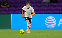 ORLANDO CITY, FL - JANUARY 31: Sam Vines #4 of the United States moves with the ball during a game between Trinidad and Tobago and USMNT at Exploria stadium on January 31, 2021 in Orlando City, Florida.