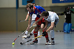 Mannheim, Germany, January 10: During the 1. Bundesliga Herren Hallensaison 2014/15 Sued  hockey match between Mannheimer HC (blue) and Muenchner SC (white) on January 10, 2015 at Irma-Roechling-Halle in Mannheim, Germany. Final score 8-8 (3-5). (Photo by Dirk Markgraf / www.265-images.com) *** Local caption *** Fabian Pehlke #23 of Mannheimer HC, Michael Rostock #18 of Muenchner SC