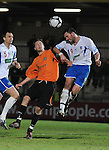 Jamie Brown clears the danger for Eastleigh. Newport County V Eastleigh, Blue Sqaure South © Ian Cook IJC Photography, 07599826381,  iancook@ijcphotography.co.uk, www.ijcphotography.co.uk