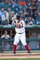 Jake Elmore (3) of the Charlotte Knights at bat against the Scranton/Wilkes-Barre RailRiders at BB&T BallPark on April 14, 2018 in Charlotte, North Carolina.  The RailRiders defeated the Knights 10-5.  (Brian Westerholt/Four Seam Images)