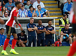 Hartlepool United 0 Sunderland 3, 20/07/2016. Victoria Park, Pre Season Friendly. Craig Hignett, Manager of Hartlepool United, Curtis Fleming, First Team Coach and Craig Hubbard, Strength & Conditioning Coach, watch the game. Photo by Paul Thompson.