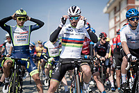 World Champion Julian Alaphilippe (FRA/Deceuninck - QuickStep) at the race start<br /> <br /> Stage 1 from Lido di Camaiore to Lido di Camaiore (156km)<br /> <br /> 56th Tirreno-Adriatico 2021 (2.UWT) <br /> <br /> ©kramon