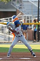 Kingsport Mets infielder Yoel Romero (15) at bat during a game against the Burlington Royals at Burlington Athletic Complex on July 28, 2018 in Burlington, North Carolina. Burlington defeated Kingsport 4-3. (Robert Gurganus/Four Seam Images)