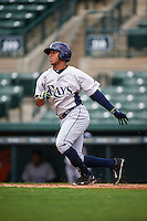 GCL Rays outfielder Garrett Whitley (20) at bat during the first game of a doubleheader against the GCL Orioles on August 1, 2015 at the Ed Smith Stadium in Sarasota, Florida.  GCL Orioles defeated the GCL Rays 2-0.  (Mike Janes/Four Seam Images)