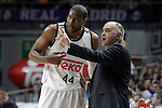 Real Madrid's coach Pablo Laso with his player Marcus Slaughter during Liga Endesa ACB match.March 29,2015. (ALTERPHOTOS/Acero)