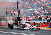 Aug 31, 2019; Clermont, IN, USA; NHRA top fuel driver Billy Torrence during qualifying for the US Nationals at Lucas Oil Raceway. Mandatory Credit: Mark J. Rebilas-USA TODAY Sports