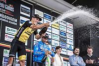 Danny Van Poppel (NED/Lotto NL-Jumbo) on podium after winning the 71th Halle Ingooigem 2018 (1.1)<br /> 1 Day Race: Halle > Ingooigem (197.7km)
